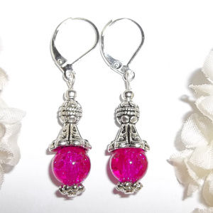 Hot Fuschia Pink Beaded Earring Set Dangle 4503